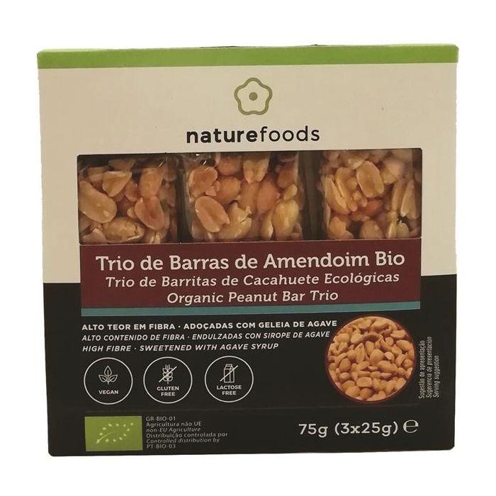 Trio De Barras De Amendoim Biológico Sem Glúten