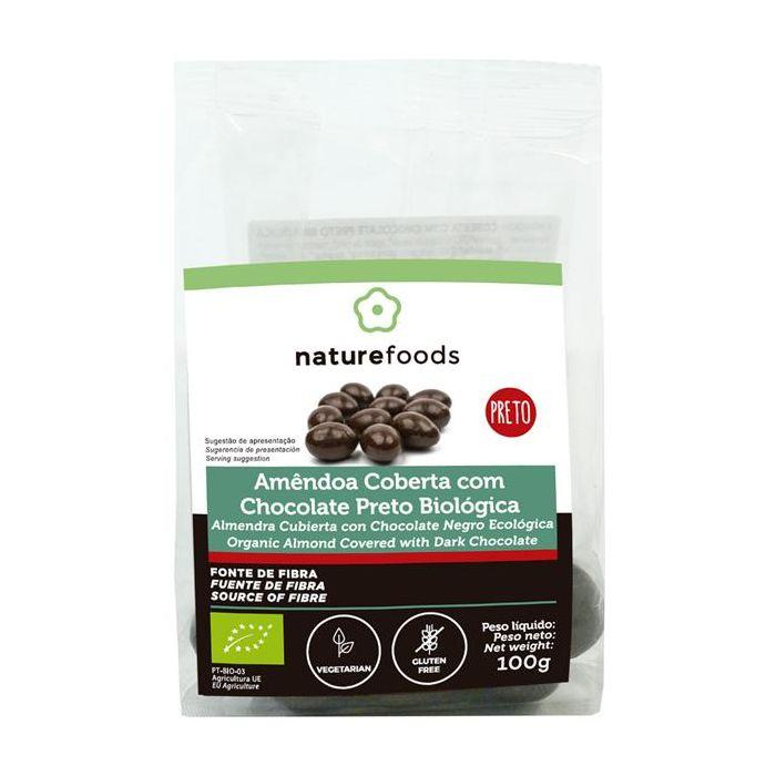 amêndoas cobertas com chocolate preto biológicas