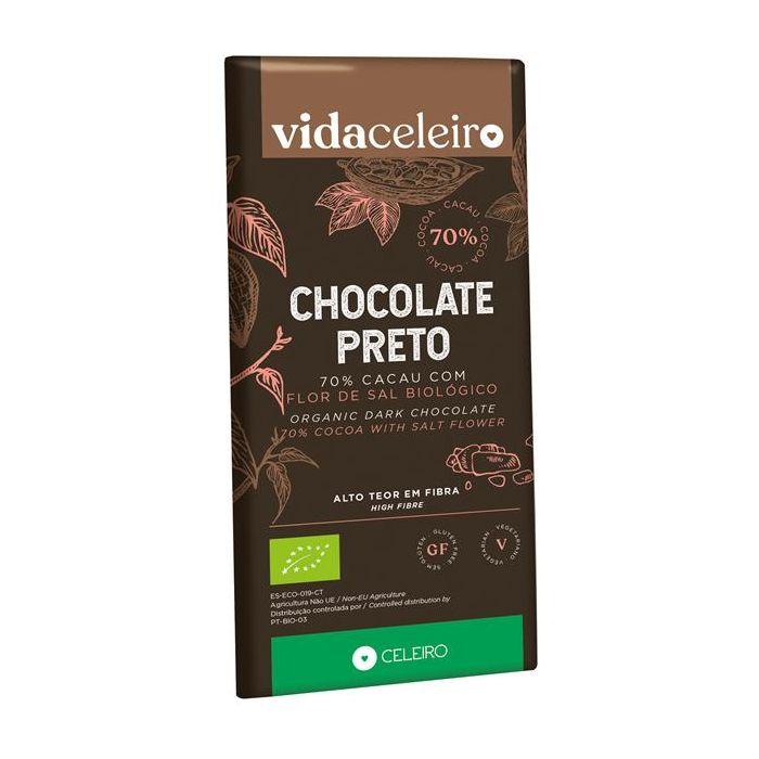 Chocolate Preto 70% Bio Com Flor De Sal
