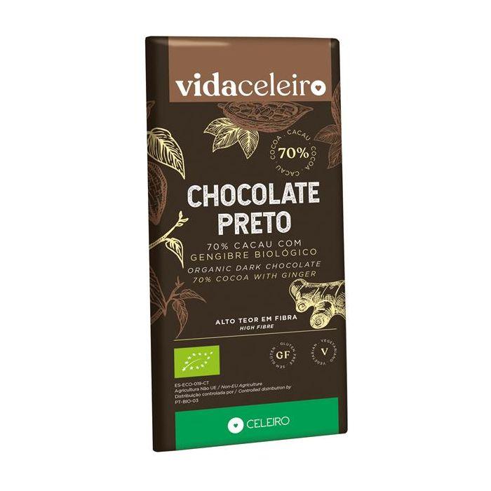 Chocolate Preto 70% Bio Com Gengibre