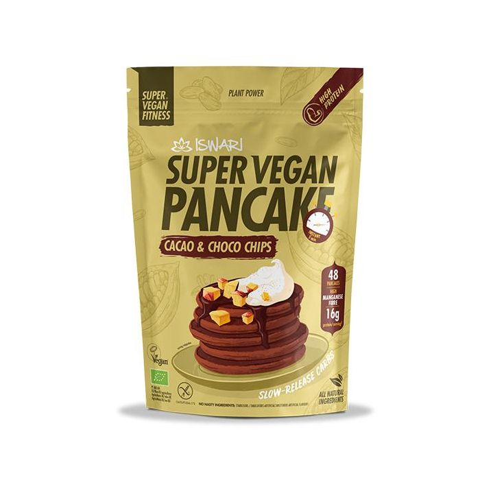 Super Vegan Panquecas Cacau Pepitas Chocolate