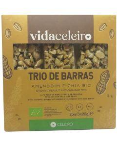 Trio Barras Bio Amendoim Chia Sem Glúten