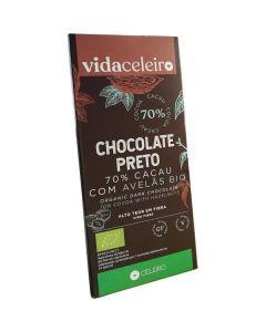 Chocolate Preto 70% Cacau E Avelão Bio Sem Glúten
